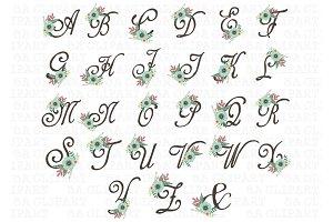 Floral Monogram Clipart