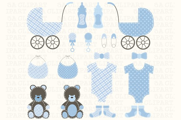 Baby Shower Boy Clipart Illustrations Creative Market
