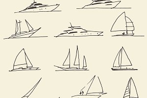Set of hand drawn boats