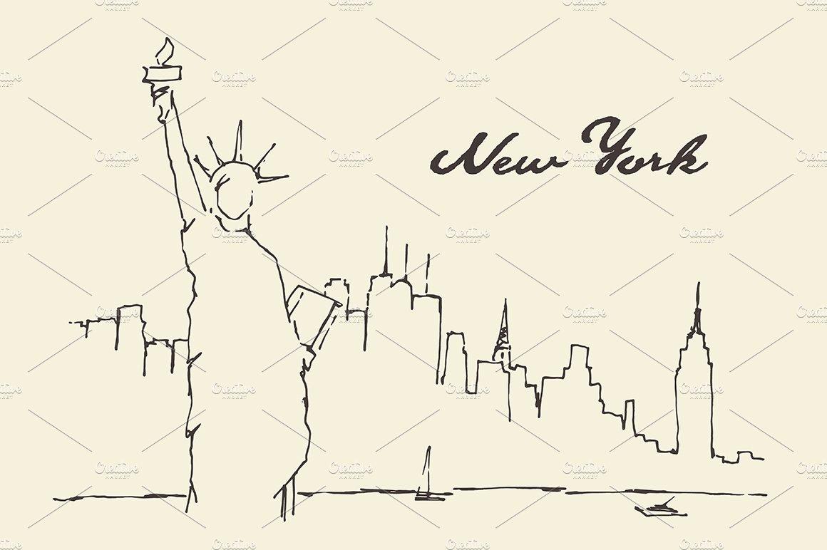 Sketch Of New York City Skyline Illustrations Creative