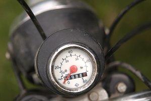 Vintage motorbike speedometer