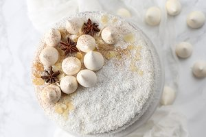 White cake with simple decoration