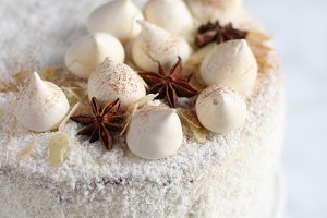 White coconut cake with decoration