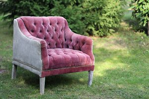 Armchair in chesterfield style