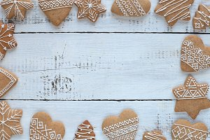 Gingerbread cookies on white table