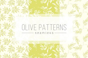 Seamless ink painted olive patterns