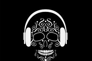 Skull vector with headphone beats