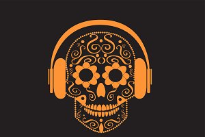 Skull vector with beats orange color