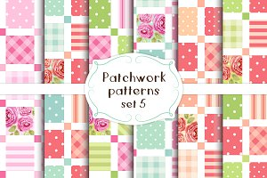 Patchwork seamless patterns set#5