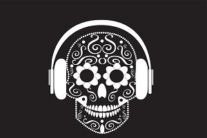 Skull vector with beats white color