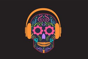 Skull vector with beats color