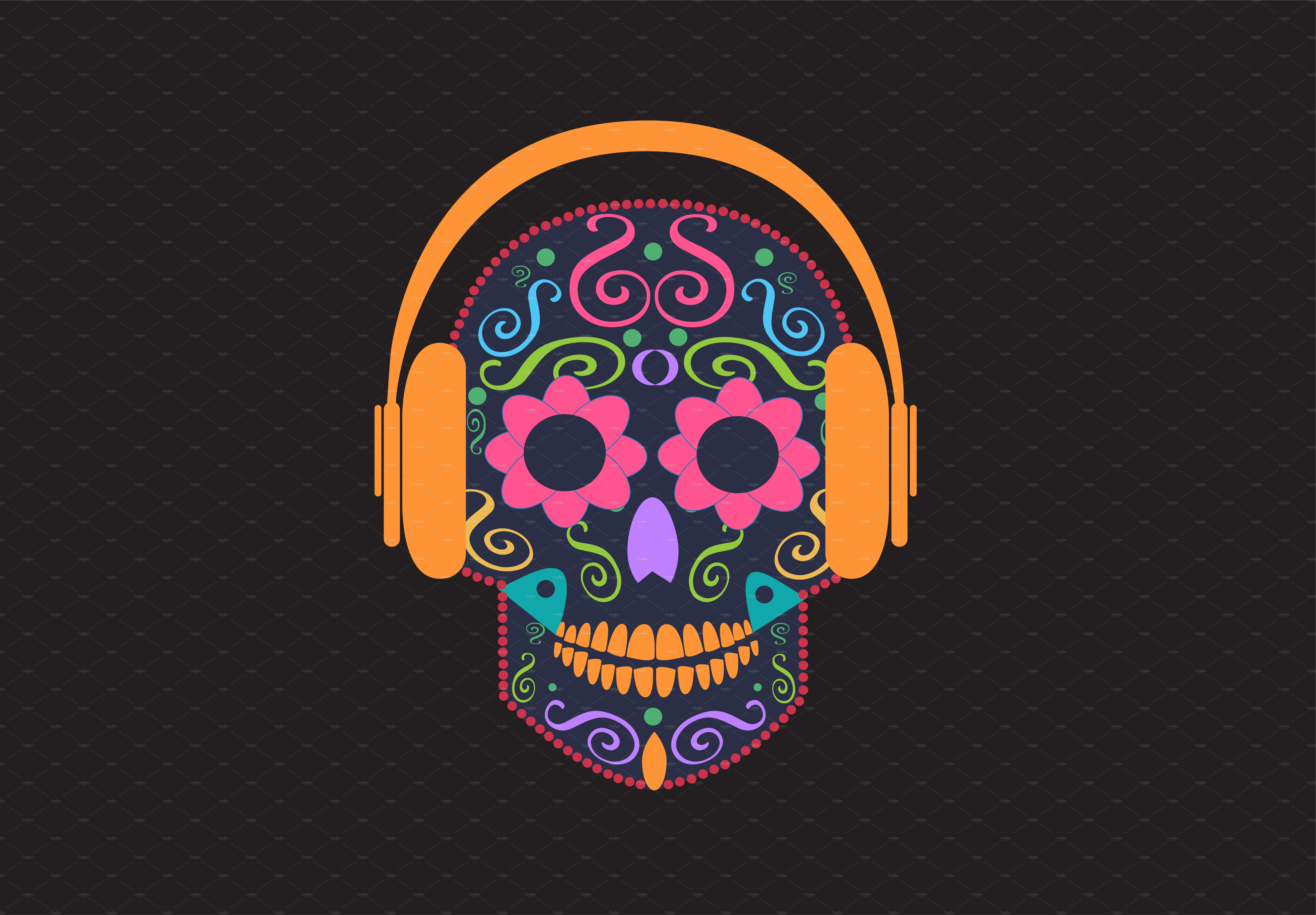 skull vector with beats color graphics creative market