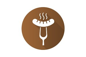 Sausage on fork icon. Vector