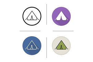 Tent. 4 icons. Vector