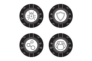 Cyber security. 4 icons. Vector