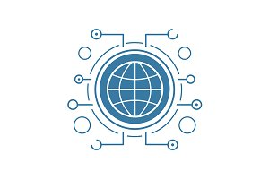 Global network icon. Vector