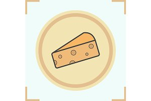 Cheese slice icon. Vector
