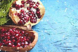 Winter fruit pomegranate backdrop