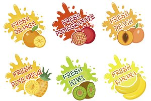 Fruits splash set of labels