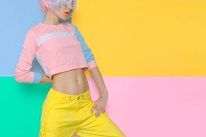 Fitness Girl Creative pop art style.