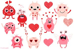 Valentine monsters love set