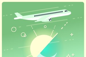 Travel concept with airplane