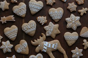 Gingerbread on a dark wooden table