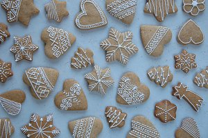 Gingerbread on a gray background