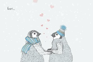 lovers penguins skates on the ice