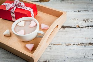 Hot choco with marshmallow's hearts