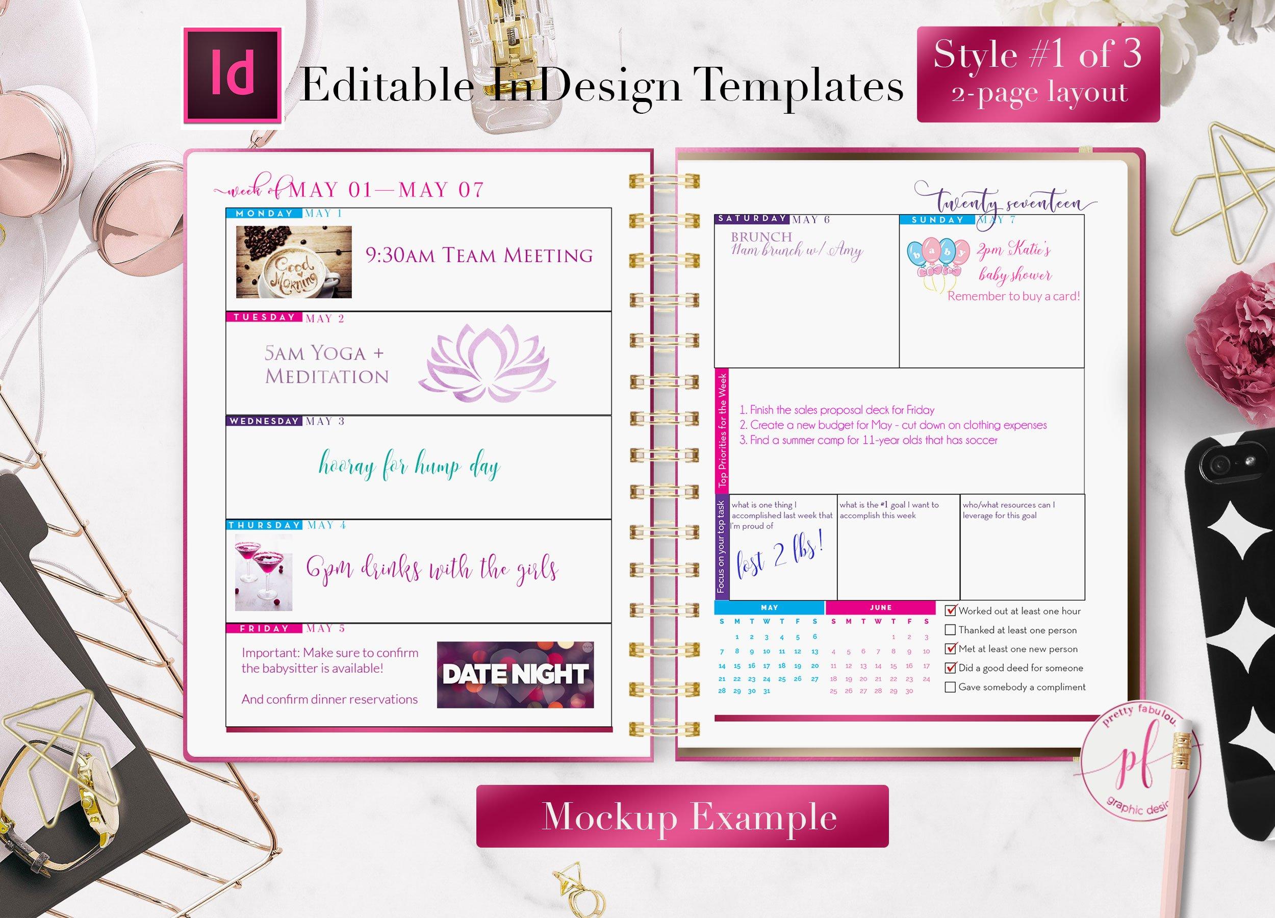 Weekly Calendar Indesign Template : Weekly calendar indesign template stationery templates