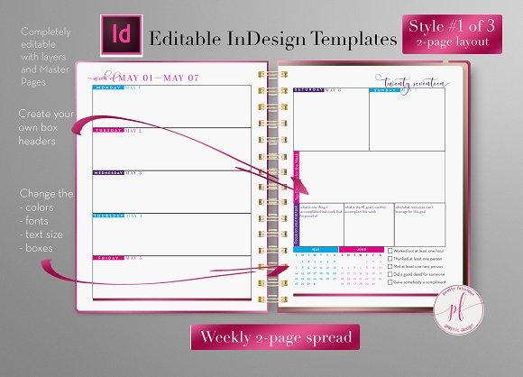 Weekly Calendar   InDesign Template ~ Stationery Templates ...