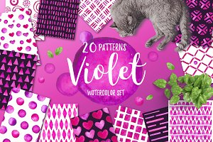 Violet. Watercolor patterns