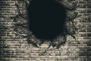 A hole in brick wall