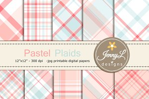 Pastel Valentine Plaid Digital Paper