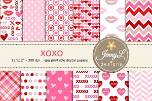 xoxo Valentine Digital papers
