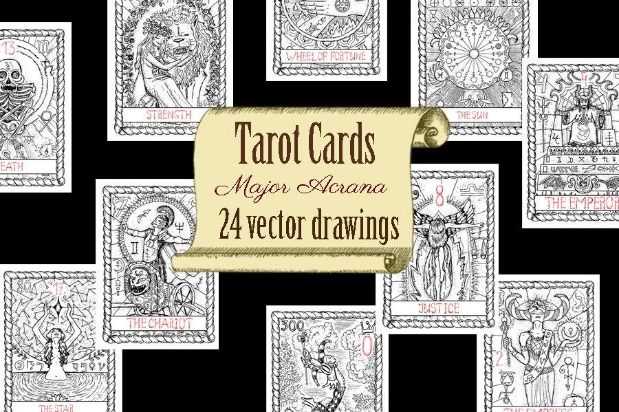 vector tarot cards major arcana illustrations creative market. Black Bedroom Furniture Sets. Home Design Ideas