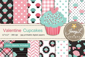 Valentine Cupcakes Digital Papers