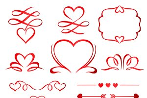 Valentine calligraphic elements.
