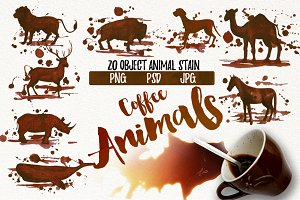 Watercolor Coffee Animals Stains