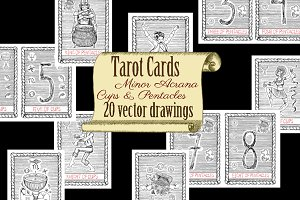 Vector Tarot. Cups and Pentacles
