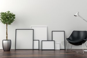 Set of picture frames on the floor