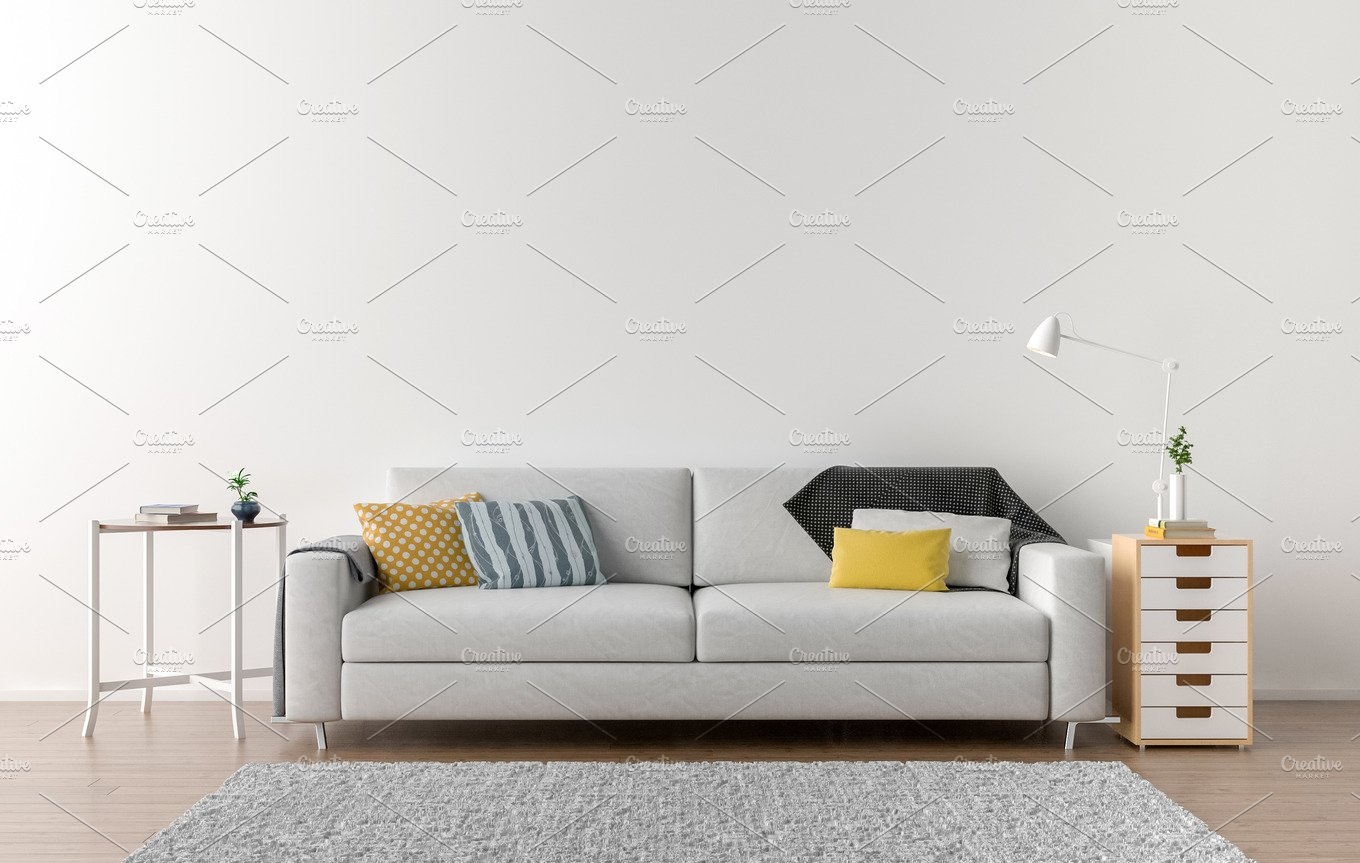 Empty living room background featuring sofa, white, and background