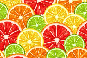 Patterns with citrus fruits slices.