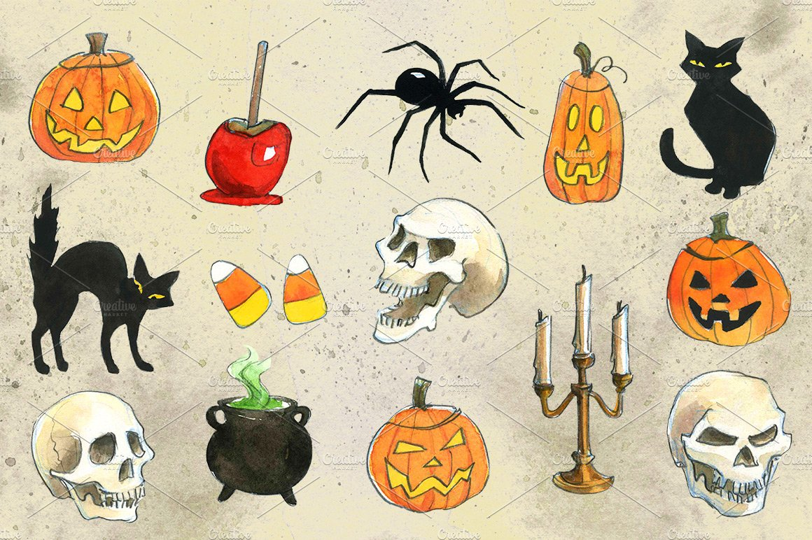 Drowings Imags: Halloween Watercolor Illustrations