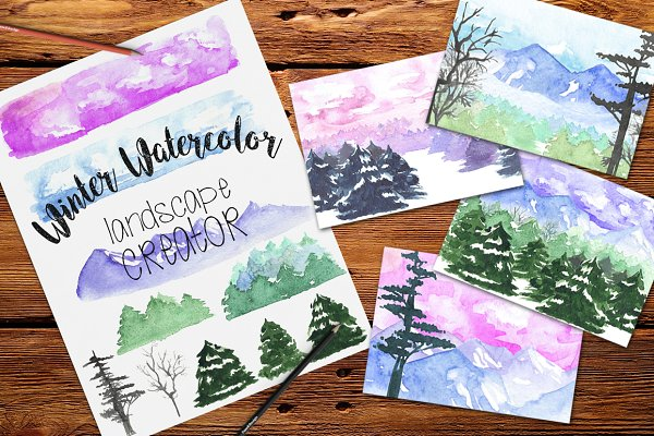 Watercolor Winter Landscape Creator
