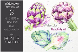 Watercolor artichokes set.
