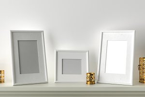 Three blank picture frame