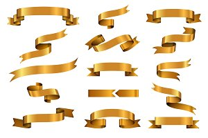 Gold glossy ribbon banners set