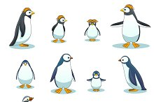 Penguins characters in various poses